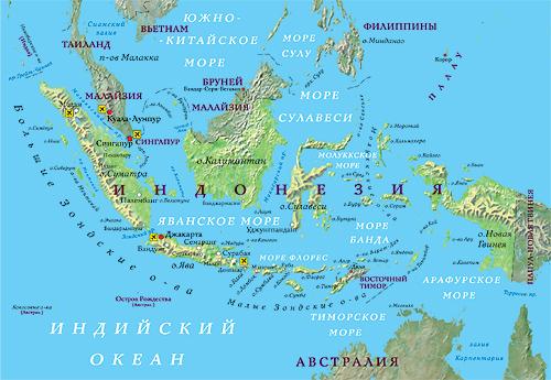 Индонезия где находится на карта мира